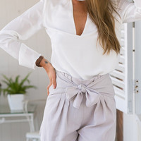 White Cut Out Plunge High Neck Long Sleeve Blouse