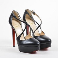 DCCK Christian Louboutin Black Leather Criss Cross Platform Borghese Heels
