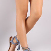 Wild Diva Lounge Tassel Lace Up Caged Sandal