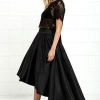 Modern Mystery Black Satin High-Low Skirt