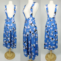 1980 blue rayon jumper, floral print fit and flare A line suspender belted summer sun dress, Medium to large Jil Mykels