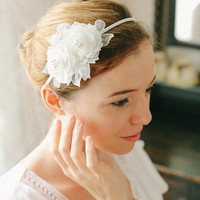 Lace flower headband, flower hair wreath, rose headband, lace rose - style 235