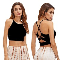 Fashion Casual Women Ladies Tank Tops Slim Sleeveless Backless Tops Summer Crop Tops Off Shouder Clothes