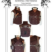 Steampunk leather Double Holster & Ammo Pouch leather work Pattern