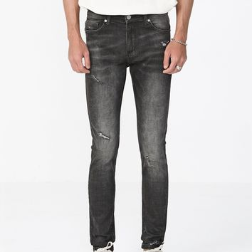 Distressed Dusted Black Denim Jeans