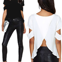 'The Ariel' Scoop Neck Cut-Out Blouse