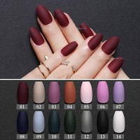 Matte burgundy Coffin False nails Gray Pure Blue Designs Nude 24pcs purple Full Nail Tips Pink Ballerinas red fake nail black