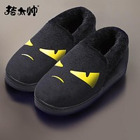 Winter Cotton Slippers Female Bag And Indoor Wool Slippers Home Cute Couple Home Confinement Warm Cotton Shoes Winter Men
