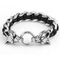 WILD Wolf Heads Stainless Steel Genuine Leather Chain Biker Men Bracelet