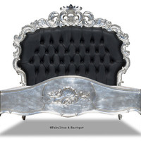 Fabulous and Baroque — Night's Dream Tufted Bed - Silver & Black