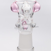 water bong bowl 14mm female glass fittings glass bowl bong replacement built in pinch screen pink - Adapterrlman