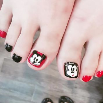 24pcs Black Red Mickey Mouse Finished False Nails Cartoon Design Full Short Fake Nail Tips Toe Feet Patch Manicure Tools