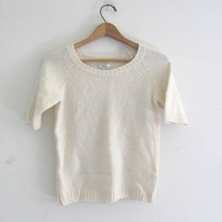 vintage white cashmere and wool sweater. small fit sweater. M