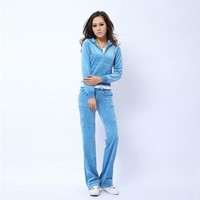 Juicy Couture Pure Color Velour Tracksuit 6047 2pcs Women Suits Aqua Blue