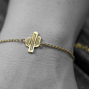 Gold or silver plated stainless steel cactus bracelet