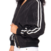 ZIP-UP BOMBER JACKET WITH STRIPED SLEEVES