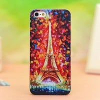Cool Unique Oil Painting Eiffel Tower Relief Hard Cover Case For Iphon
