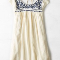 AEO Women's Tie Back Shift Dress (Cream)