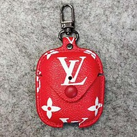 Louis Vuitton LV GUCCI Hot Sale Chic Earphone Storage Bag Portable Data Line Protective Case (No Headphones) Red