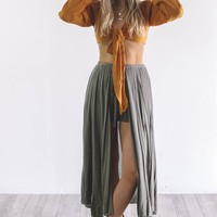 Flow With Me Faded Olive Skirt