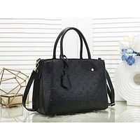 LV Louis Vuitton New fashion monogram print shoulder bag handbag women Black