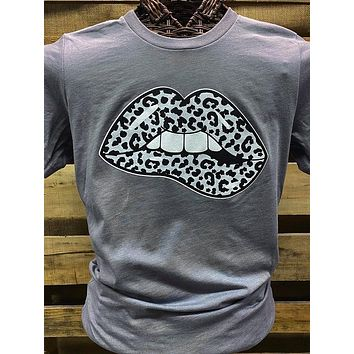 Southern Chics Apparel Leopard Biting Lip Canvas Bright T Shirt