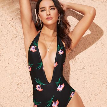 Random Floral Deep V Neck Backless One Piece Swimsuit