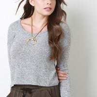 Marled Knit Long Sleeve Top