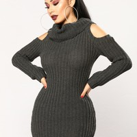 Thea Sweater Dress - Charcoal