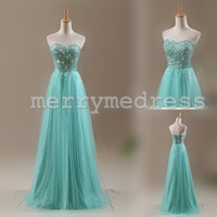 Beads Ruffled Sweetheart Strapless Long Bridesmaid Dress, Floor length Tulle Formal Evening Party Prom Dress New Homecoming Dress