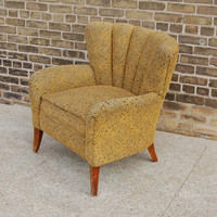 Vintage Channel Back Arm Chair Custom Reupholstering Available