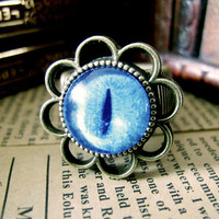 Blue Cat Eye Design Ring , Antique Brass Ring , Steampunk Ring , Adjustable Ring , with a Gift Box