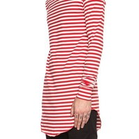 The Long Sleeve Longline Shirt - Red and White Striped Cotton