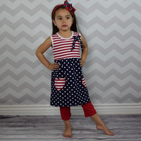 Polka and Stripes 2pc Patriotic Dress GIRL Outfit