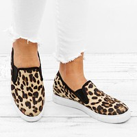 Stylish leopard-print women's loafers flat shoes large sizes and shallow tops