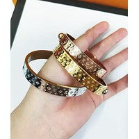 LV Louis Vuitton Fashion Women Men Classic High End Lovers Stainless Steel Bracelet