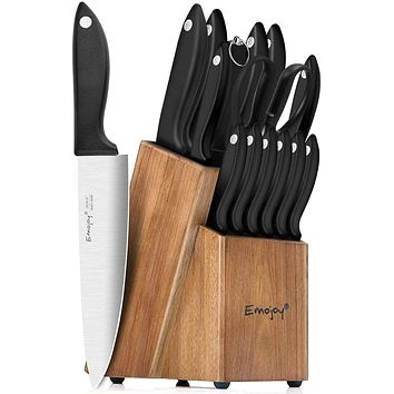 Knife Set, 15-Piece Kitchen Knife Set with Sharpener Wooden Block