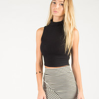 High Neck Sleeveless Cropped Top - Large