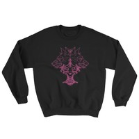 Voodoo Priestess And Wolves Sweatshirt, Black With Pink