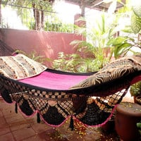 Beautiful Two Colors Single Hammock hand-woven Natural Cotton Special Fringe
