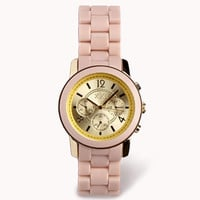 FOREVER 21 Colored Chronograph Watch Light Pink/Gold One