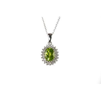 Sterling Silver Peridot and Diamond Necklace (.01ct) Oval Pendant Necklace
