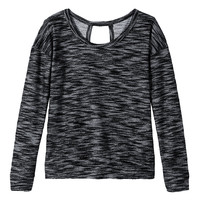 Long Sleeve Marled Open Back Tee - Black