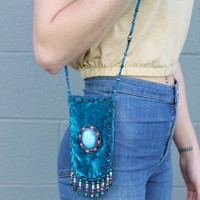Vintage Aqua Bead Coin Purse