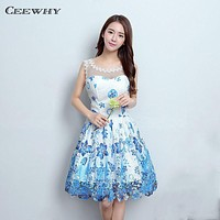 CEEWHY Floral Lace Knee Length Prom Dress Formal Gowns Short Evening Gowns Cocktail Dress 2017 Homecoming Dresses Abendkleider