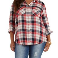 Plus Size Dark Red Combo Plaid Button-Up Top by Charlotte Russe