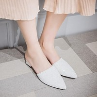 Women Pointed Toe Glitter Slides Sandals Low Heeled Shoes 6481
