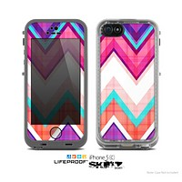 The Vibrant Pink & Blue Chevron Pattern Skin for the Apple iPhone 5c LifeProof Case