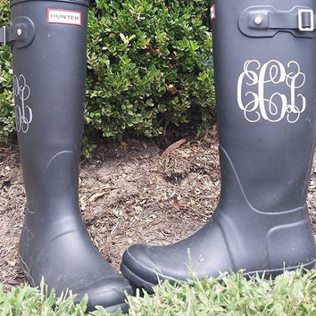 Rainboot Monograms | Vine Rainboot Monogram | Hunter Rainboot Monogram | Shoe Monogram | Preppy Monograms | Prepster Decals | Set of two
