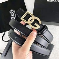 Dolce & Gabbana Fashion New Letter Buckle Leather Leisure Women Men Belt Width 2.4 CM Black